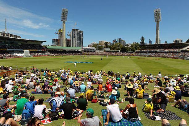 Fans relaxing at cricket match