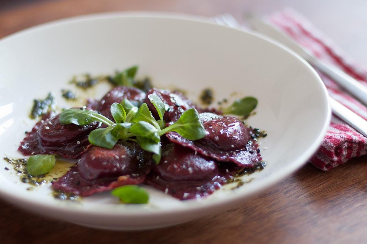 Beetroot ravioli