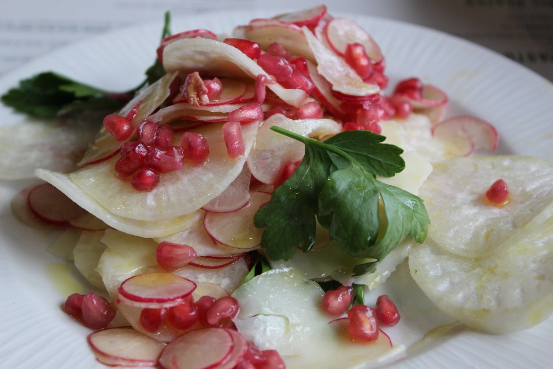 Radish, celeriac, and pomegranate salad