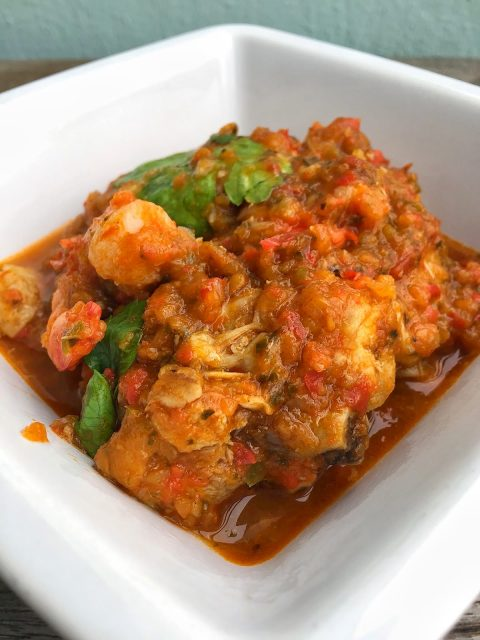 Liberian Spicy Chicken Gravy with Seafood