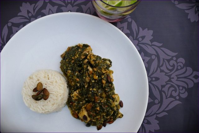 Palava Liberian smoked meat fish in spicy-hot soup