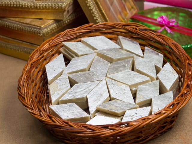 Kaju Barfi Indian Dessert with Silver Foil