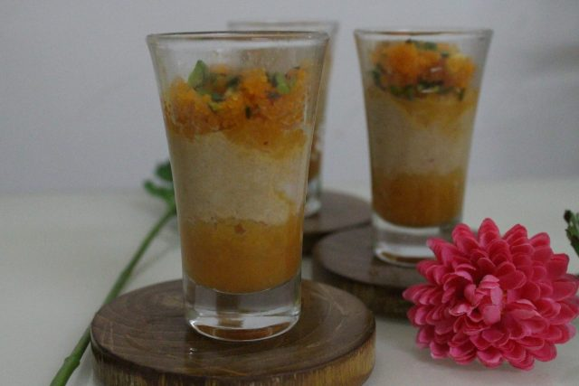 Rabri Motichur Laddo Indian Dessert In Shot Glasses