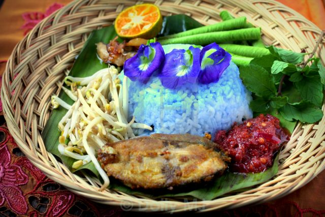 Nasi Kerabu Malaysian Food Blue Rice