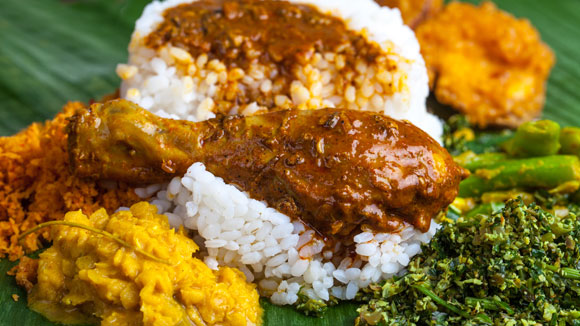 Rice and Curry Sri Lankan Lunch Dish