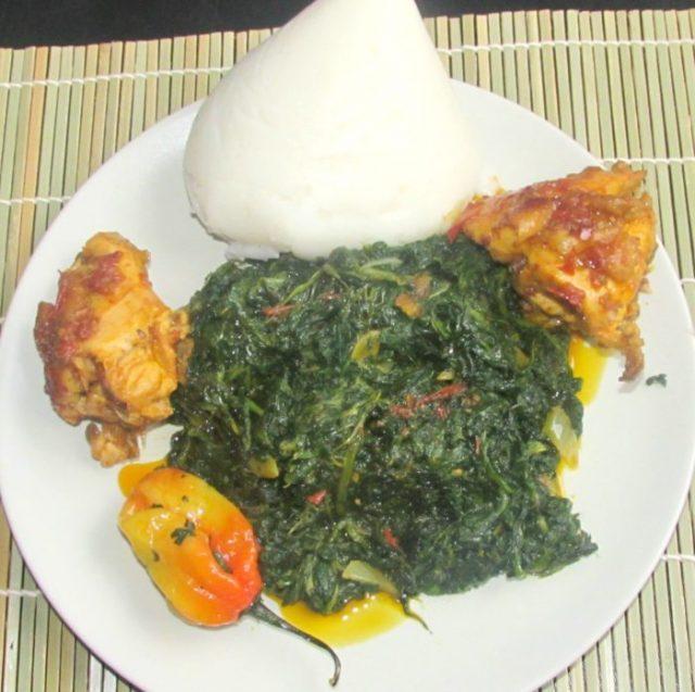 Fufu Corn and Njama Njama Cameroon Food Dishes
