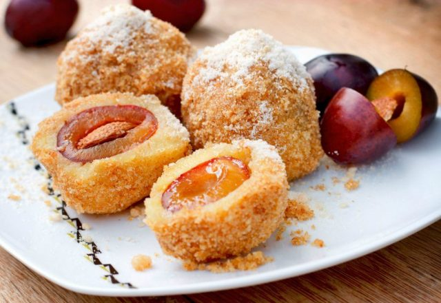 Knedle Serbian Dumplings filled Ripe Plums