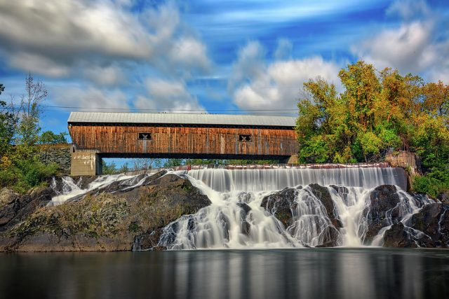 East Willard Twin Covered Bridge and Waterfall in Southern Vermont
